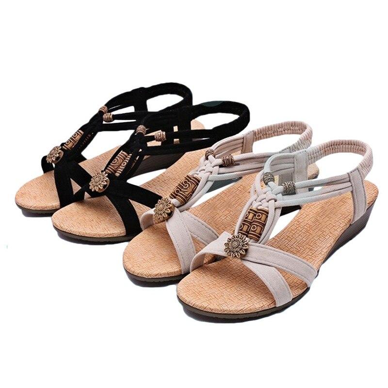 Nouveau Haut Femmes Confort Plat Compensé Strass Sandales Boucle Taille Toe