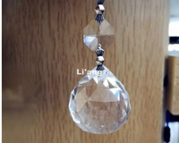 Free Shipping 50pcs/lot 30MM Crystal Faceted Ball+14mm Octagon Bead DIY Pendants For Chandelier Parts,Wedding /Party Decoration