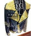S-5XL ! Men Bar nightclub singer DS male super-atmospheric gold rivet punk leather motorcycle jaclet costumes coat clothing