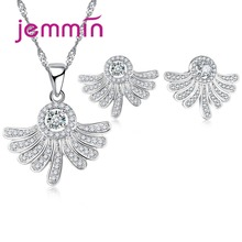 Jemmin Fine 925 Sterling Silver Jewelry Sets For Wedding Engagement Accessory CZ Crystal Necklaces Drop Earrings Set Femme