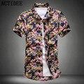 2017 Nova Moda de Alta Qualidade de Manga Curta de Algodão Homens Da Camisa Havaiana plus Size 3XL 4XL 5XL Verão Casual Floral Camisas para Os Homens