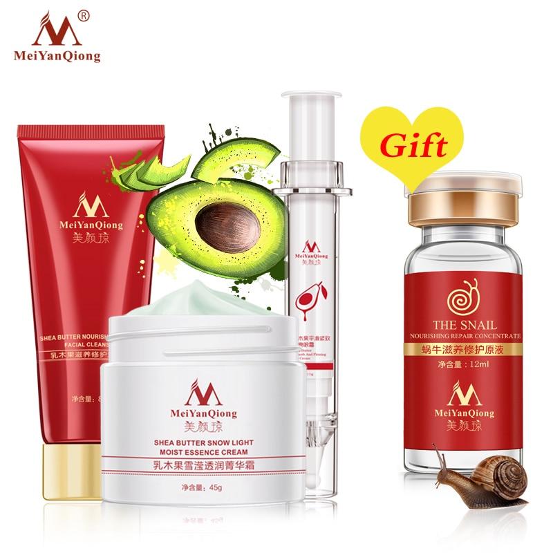 Buy 3 Get 1 Gift Shea Butter Facial Cleanser+Shea Butter Essence Cream+Shea Butter Eye Cream Moisturizing Firming Skin Care стоимость