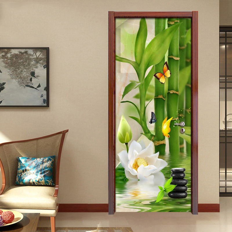 Living Room Bedroom Door Sticker Wall Mural Green Bamboo Lotus Pebbles 3D PVC Waterproof Self-adhesive Wall Sticker Wallpaper custom mural wallpaper creative space forest path 3d wall sticker wallpaper modern living room bedroom door mural pvc home decor