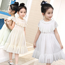 2019 New Fashion Girls Dress White Long Sleeves Lace Princess  Baby Girl Clothes For Birthday Party Summer Dresses