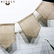BITFLY Vintage Hessian Burlap Banner for Wedding Decoration Flags Pennant Birthday Event Party Supplies Photography Props