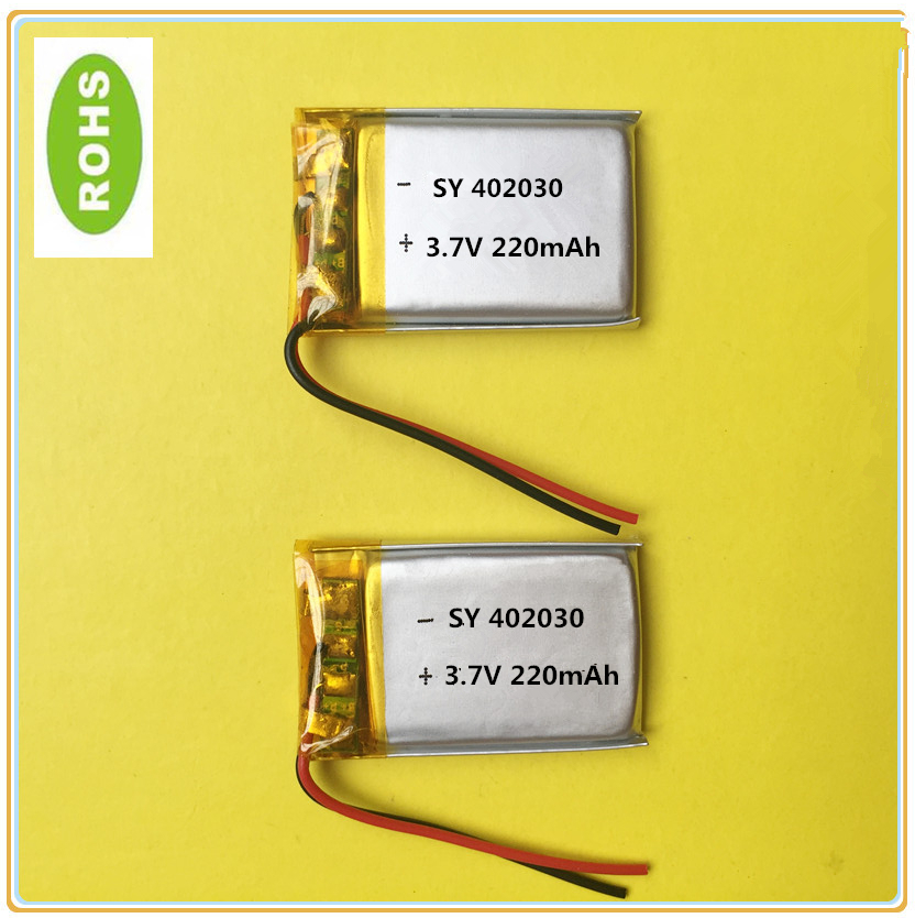 1pcs Free Shipping Polymer Lithium Battery 3.7 V, 402030 042030 220mah  CE FCC ROHS MSDS Quality Certification