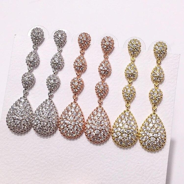 High quality fashion tassel earrings copper jewelry exquisite style multi-drop shape rhinestone long earrings long chain enamel bird shape drop earrings