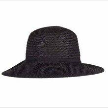 2015 Fashion Straw Hat Womens Black Ribbons Bow Hat Sun Visors Hats Girl Summer Hat Beach UV Caps Sombreros Free Shipping