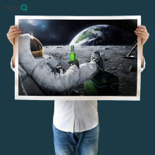 A HD Printed Wall Art Canvas Astronaut Drinking Carlsberg Beer on the Moon Poster Canvas Painting Home Decor No Frame(China)