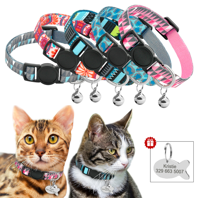Quick Release Cat Collar With Bell Personalized Kitten Collar Breakaway Cats Safety Necklace Free Engraved Fish ID Tag Nameplate 1