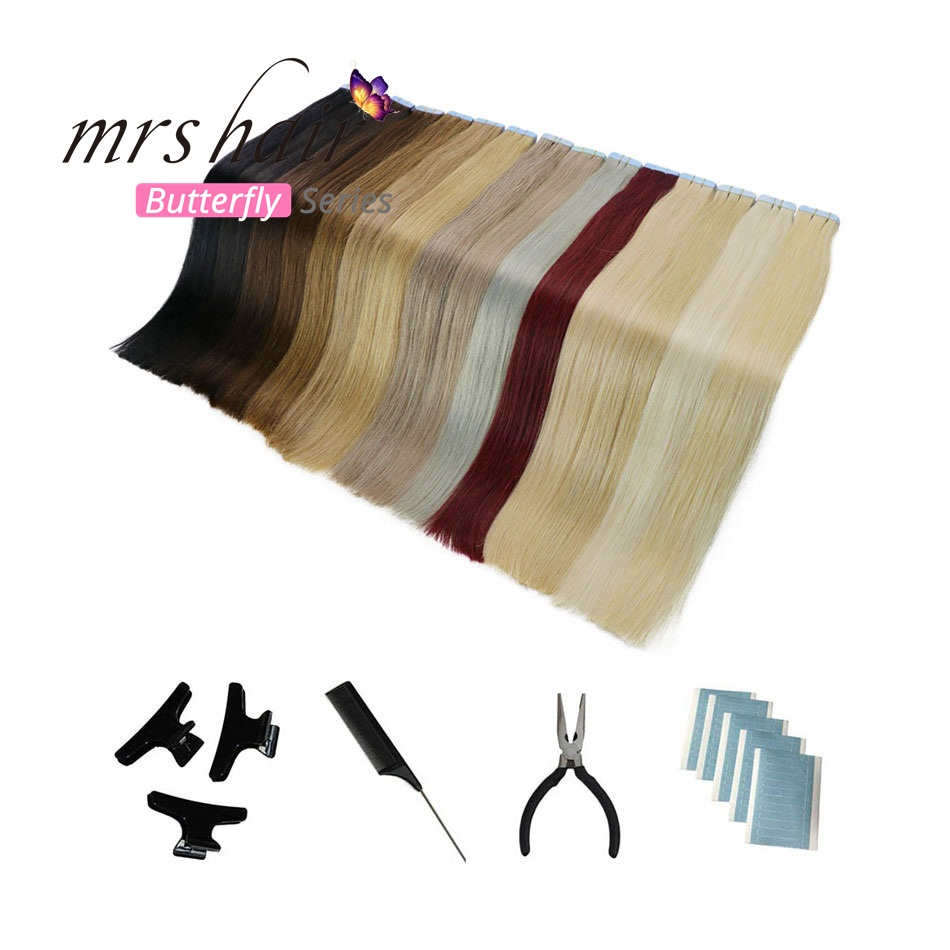 MRSHAIR 6# Skin Weft Human Hair Straight 20pcs Tape In Extension Non-Remy Hair Double Sided Tape Hair Kits 16