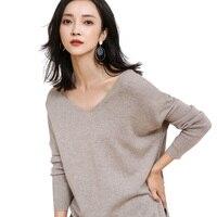 Donna doppio scollo a V in cashmere lana maniche lunghe lavorato a maglia pullover maglione casuale-GML7259