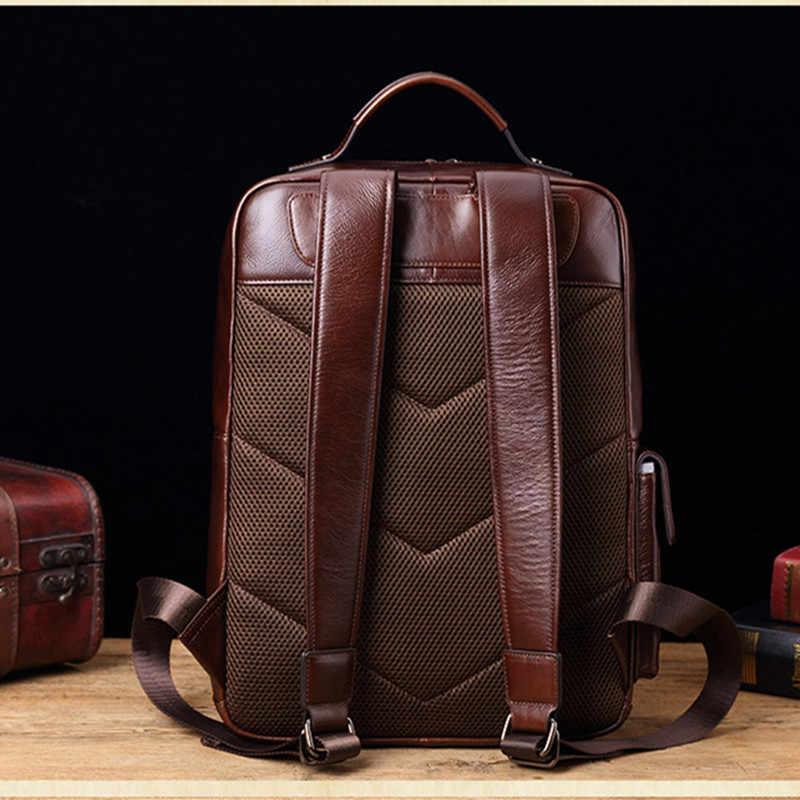 ใหม่ของแท้หนังผู้ชายกระเป๋าเป้สะพายหลัง Retro Casual 15.6 นิ้วกระเป๋าแล็ปท็อปชายขนาดใหญ่ความจุกระเป๋าเดินทางนักเรียนโรงเรียนกระเป๋าเป้สะพายหลัง
