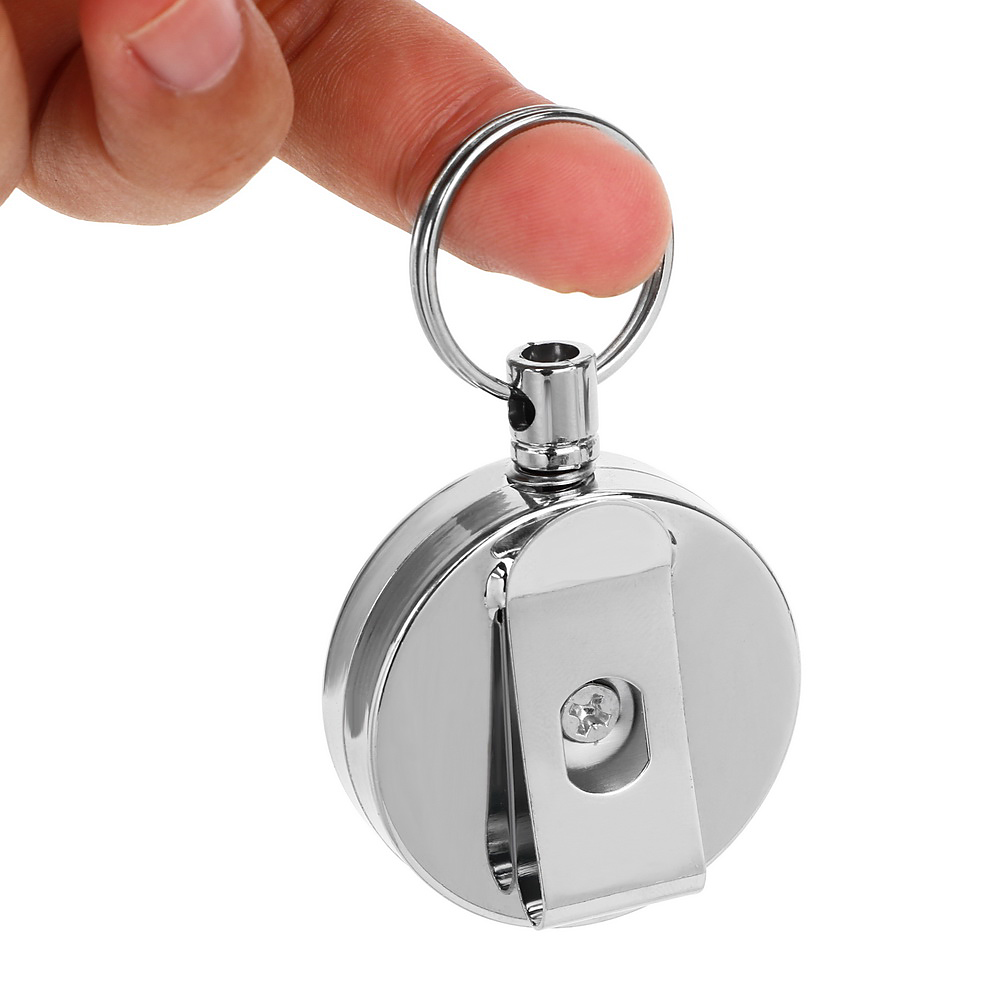 Pull Keyring Retracting Extendable Metal Wire Telescopic Key Ring 60cm Wire Rope Anti-theft Keychain Key Chain Ring Clip