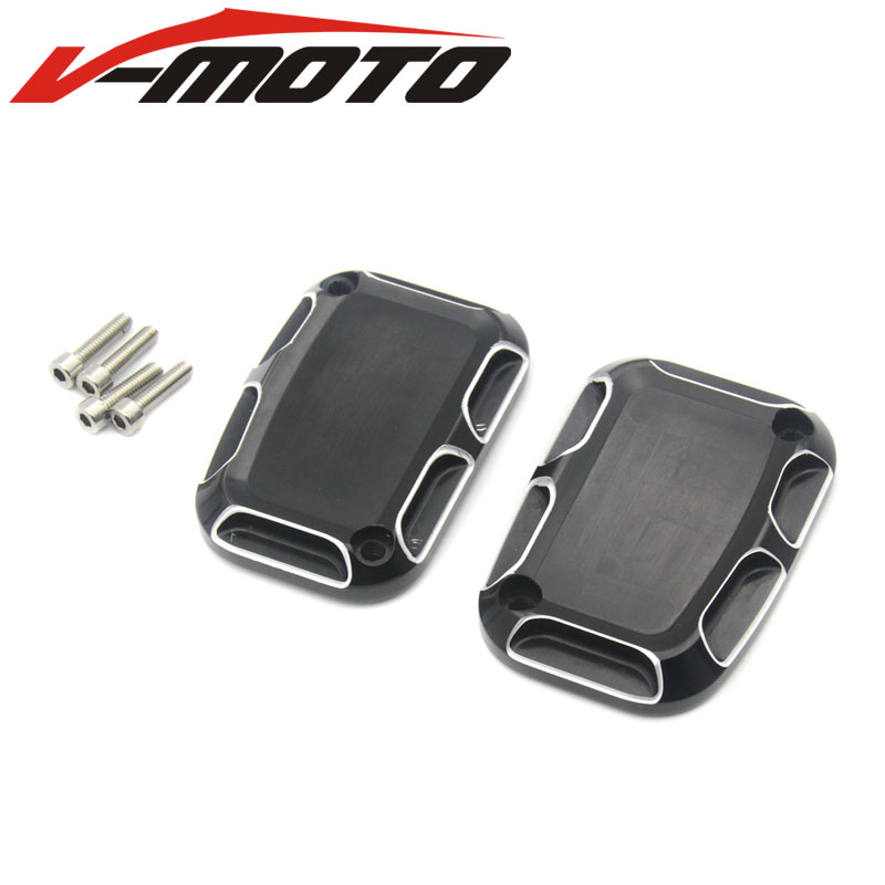 2017 NEW Black And Cast Chrome Aluminium Motorcycle CNC Front Brake Reservoir Master Cylinder Cover For Harley Road King Gliding magnum black pearl upper front brake line 33 90 for harley