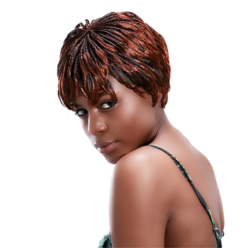 Short Braided Wigs African Braiding Hair Wig 12'' Synthetic Afro Box Braid Wig For Black Women Brown Synthteic Hair HPHR-008