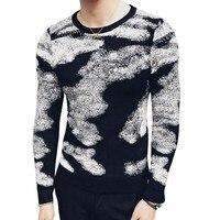 Fancy Print Sweater Masuclino Slim Fit British Fashon Designer Sweater Masculino Male Sweater Mens Pullover Sweaters Black Red