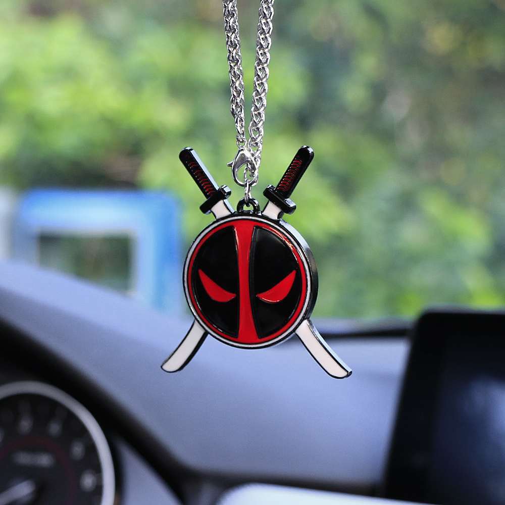 car pendant for deadpool fashion auto interior rearview mirror hanging suspension ornament. Black Bedroom Furniture Sets. Home Design Ideas