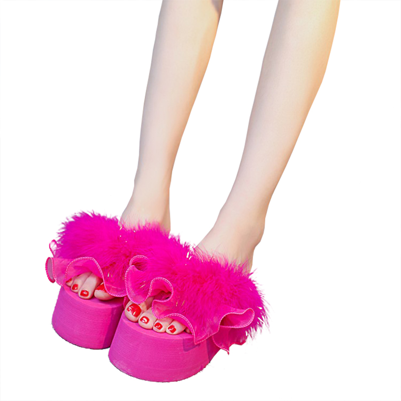fur slippers women sandals chaussure femme beach flip flops platform sandalia feminina wedges shoes for women sandales foam sole
