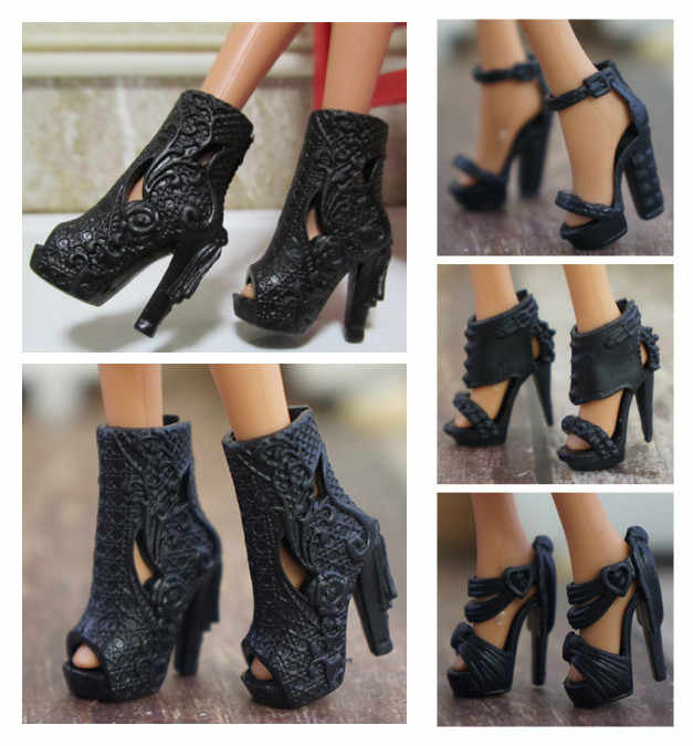 Original 1 pair 1/6 Fashion High Heel Sandals Black Doll shoes High quality Boots for Barbie Doll shoes 1/6