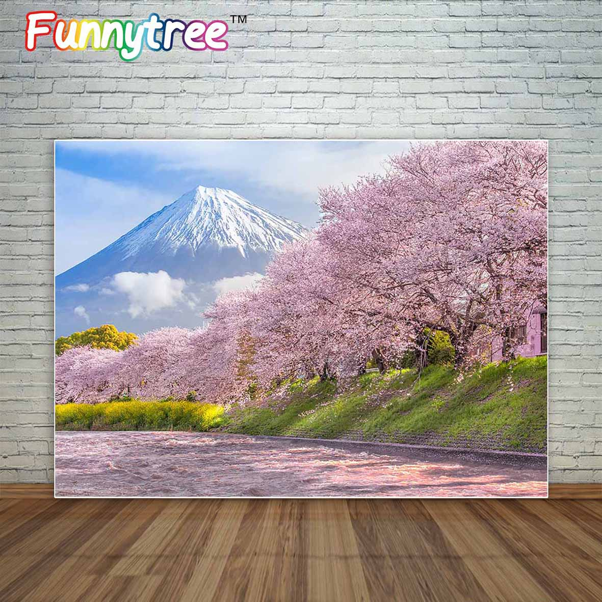 Allenjoy mountain Fuji in Japan and river in Spring with pink sakura trees photographic background backdrop background vinyl бокорез three mountain in japan sn130 3 peaks