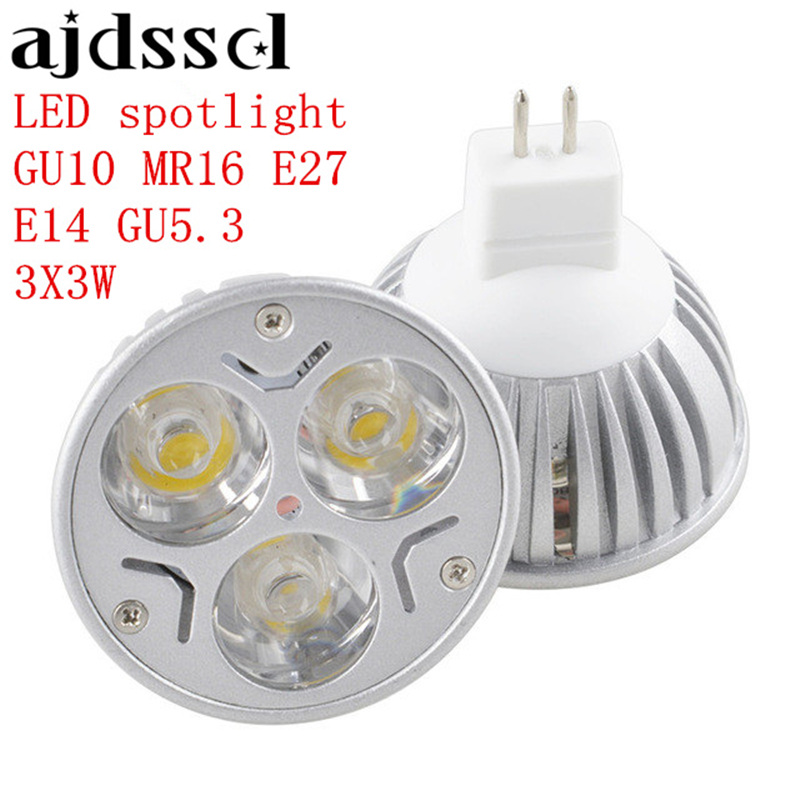 LED Spotlight  MR16 AC&DC 12VHigh Power Lampada  E27 GU10 E14 GU5.3 Led Bulbs Dimmable 3X3W Led Lamp Light  Dimmable AC110V 220V