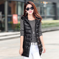 2016 Winter Long Vest Women Colete Feminino Faux Fur Hooded Cotton Padded Outerwear Gilet Veste Femme