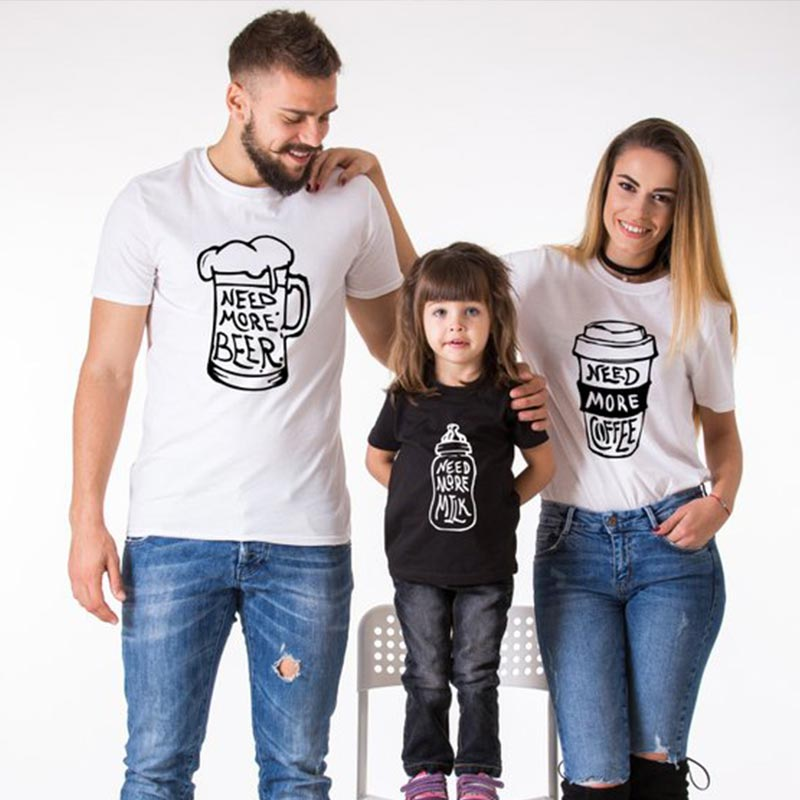 Fashion Letter T Shirt Family Matching Clothes Dad Mom Baby Girl Boy Need More Milk Cotton Mommy And Me Kids 2019 Children Set