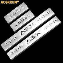 Aosrrun Высокое качество внешний нержавеющей стали порога Накладка автомобильные Интимные аксессуары для Mitsubishi ASX RVR 2010-2016 3Gen