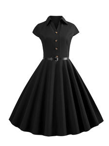 Dresses Clothing Rockabilly-Dress Pin-Up Robe Vintage Vestido Knee-Length Party Office