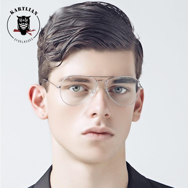Kartlian Alloy aviator Glasses Optical Frame Eyeglasses s prescription  lenses eyewear Men Women Clear Len spectacles-in Eyewear Frames from  Apparel ... 38487b665b