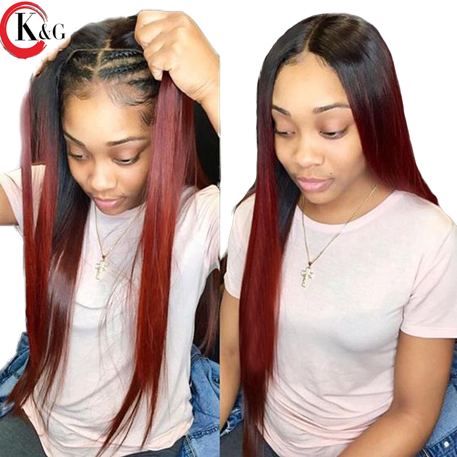 KUNGANG 1b 99j Ombre Color Lace Front Human Hair Wigs Natural Hairline Brazilian Remy Hair Wig