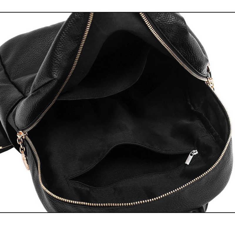 Новый простой дизайн женский рюкзак черный красный мягкий кожаный школьный рюкзак для девочек путешествия Повседневный Женский Рюкзак Студенческая Книга сумка