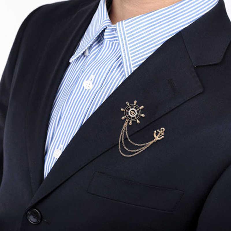 Joyeswing Trendi Fashion Bros untuk Pria Rumbai Rantai Pesona Desain Jangkar Aksesoris Pakaian Pin Bros Pria Hadiah Perhiasan