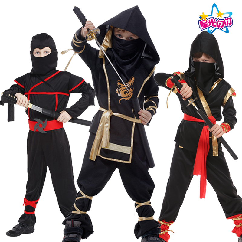NoEnName FreeShipping Ninja Costumes Holiday party Decoration Supplies Children Cosplay Classic Cos Martial Arts  For Kids