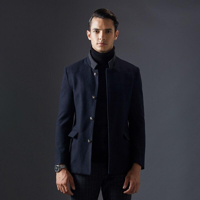 2017 Marke Herren Winter Wolle Mantel Männer Stehkragen Casual Business Mantel Männer Schwarz Blau Blends Mode Jacke Kleidung