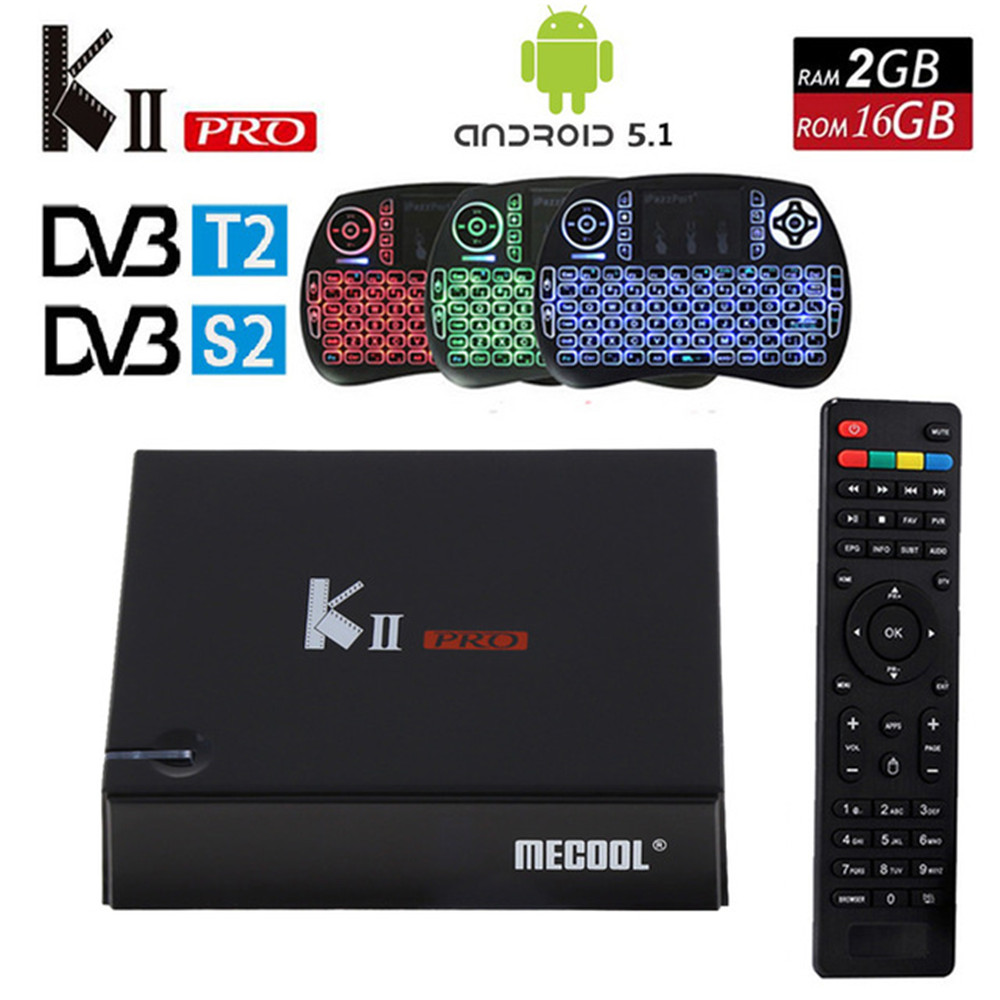 Original Mecool KII Pro DVB S2 DVB T2+S2 Android 5.1 TV Box Amlogic S905 Quad-core BT4 2GB/16GB Wifi Smart Media Player k2 pro original dvb t satlink ws 6990 terrestrial finder 1 route dvb t modulator av hdmi ws 6990 satlink 6990 digital meter finder