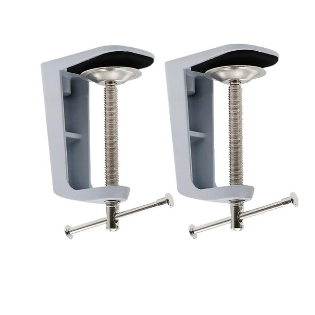 2 Pieces Metal Adjustable Arm Desk Clamp Table Lamp Clip Holder