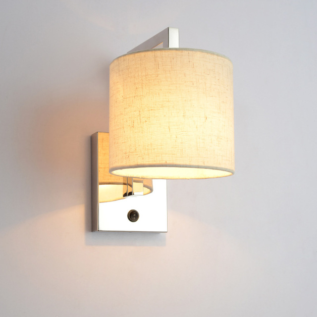 Bedroom Study Wall Light Bedside Reading Lamp Living Room E27 Lamps Beige Fabric Lampshade