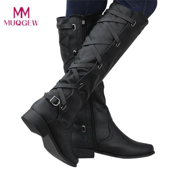 MUQGEW botines mujer 2018 scarpe Delle Signore della donna Fibbia Romani Equitazione Al Ginocchio Alta Cowboy inverno stivali donna casual Lungo Stivali botas