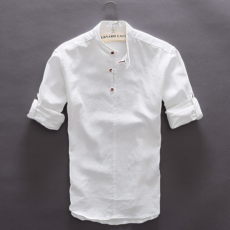 Pullover Long Sleeve Linen Shirts Men Solid Mandarin Collar Cotton ...
