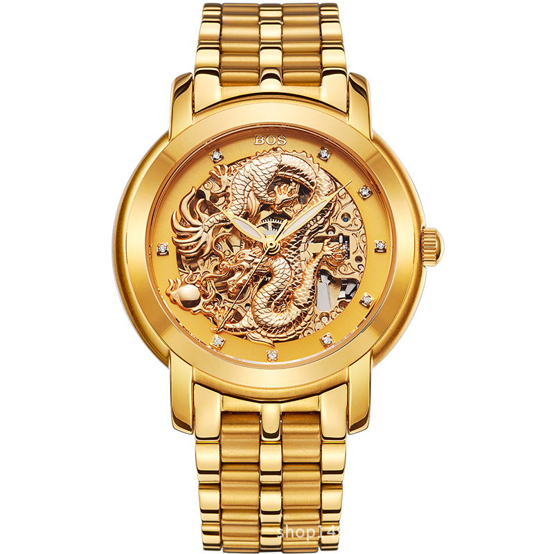 men watch Luxury Dragon Skeleton Automatic Mechanical Watches Men Stainless Steel Strap Gold Clock Waterproof Relogio Masculino forsining gold hollow automatic mechanical watches men luxury brand steel vintage skeleton watch clock relogio masculino hodinky