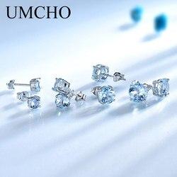 UMCHO Echt 925 Sterling Silber Schmuck Erstellt Russischen Himmel Blau Topas Stud Ohrringe Elegant Jubiläum Für Frauen Geburtstag Geschenke