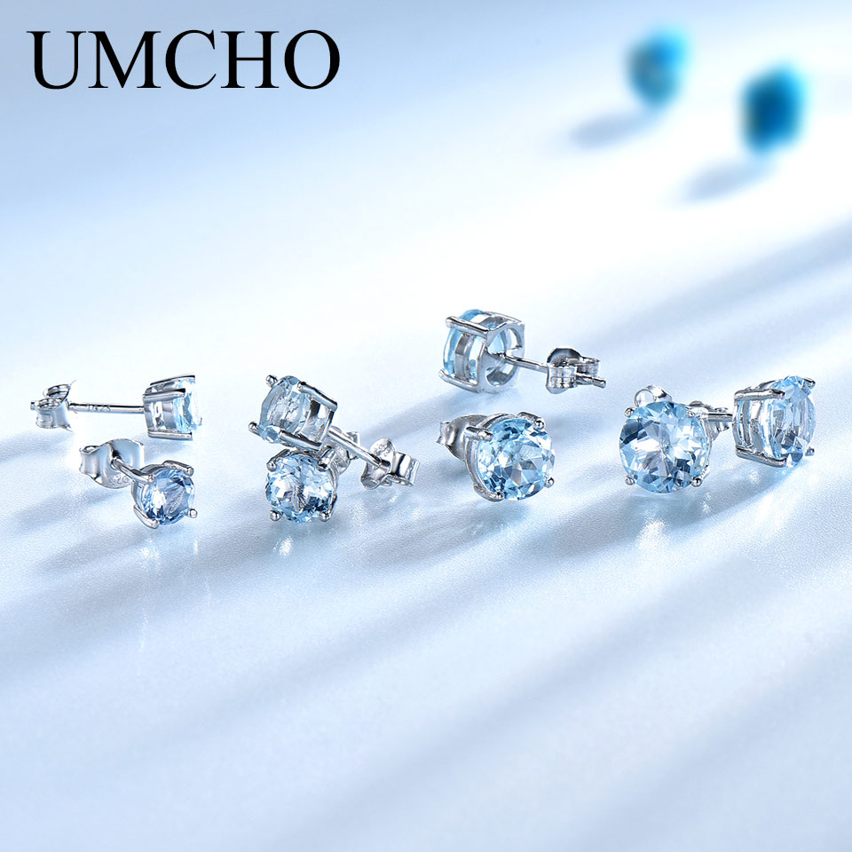 UMCHO Real 925 Sterling Silver Jewelry Created Russian Sky Blue Topaz Stud Earrings Elegant Anniversary For Women Birthday GiftsUMCHO Real 925 Sterling Silver Jewelry Created Russian Sky Blue Topaz Stud Earrings Elegant Anniversary For Women Birthday Gifts