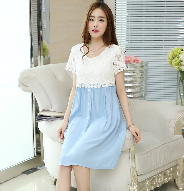 b36d9ca39c747 2017 summer new Korean maternity dress lace stitching pregnant dress plus  size women dress wholesale-in Dresses from Mother & Kids