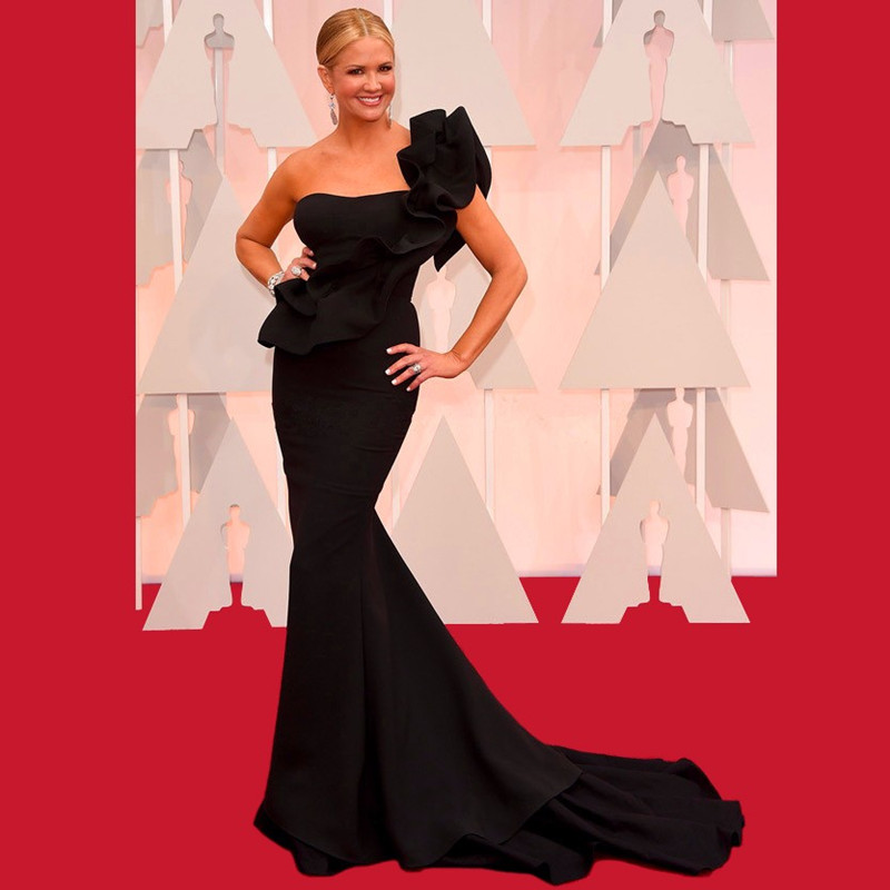 Robe de soirée longue noire élégante une épaule sirène robes de célébrité Oscar robes de tapis rouge