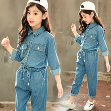 Kids Clothes Set Blue Denim Clothing Sets Turn-Down Collar Shirts and Jeans Trousers Spring Autumn Big Girls Clothes 4 6 8 12Yrs girls plaid blouse 2019 spring autumn turn down collar teenager shirts cotton shirts casual clothes child kids long sleeve 4 13t