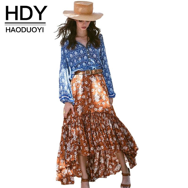 HDY Haoduoyi Fashion Floral Print Maxi Skirts Women High Waist Female A line Skirts Bohemian Loose