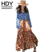 HDY Haoduoyi Мода Цветочный принт макси юбки женщин Высокая Талия Женский онлайн юбки чешского Свободные повседневные женские юбки