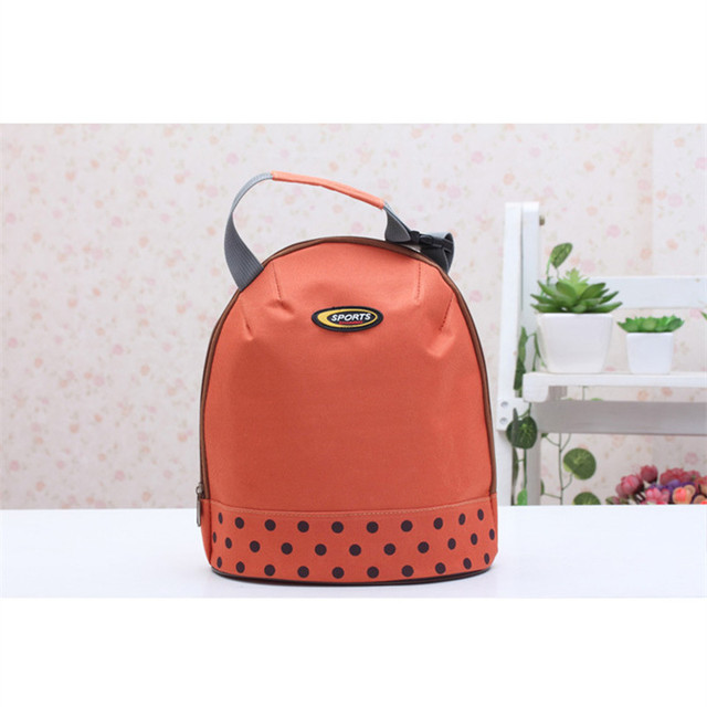 Casual Thermal Insulated Lunch Bag Container Tote Orange Dot Cooler Dining Travel Picnic Bag Portable Bento Pouch Zipper